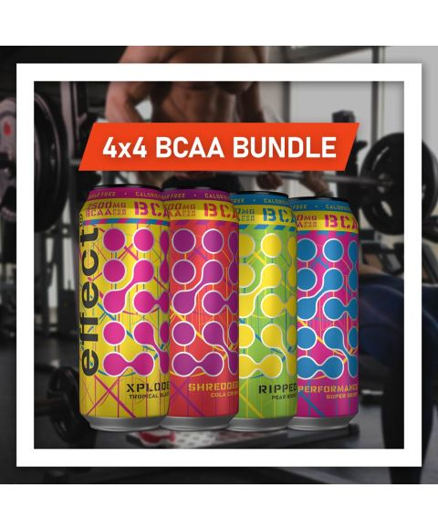 effect neue BCAA Sorten Probierpaket zum Vorteilspreis mit vier Dosen von vier Sorten: