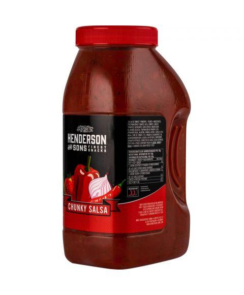 Henderson & Sons Chunky Salsa Dip für Tortillas oder andere Chips und Speisen in der praktischen 2250g Hartplastik-Dose. (Seitenansicht)