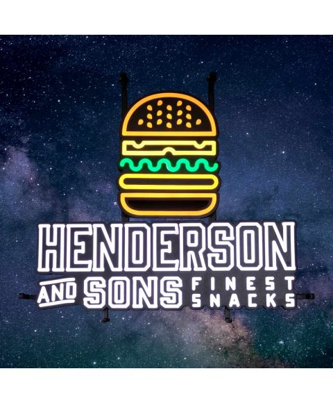 Henderson & Sons Reklameschild LED Burger Leuchtreklame LED Sign Leuchtschild