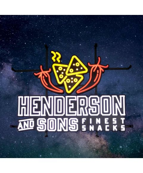 Henderson & Sons LED Neon Leuchtreklameschild mit Pepperoni und Tortilla Chips
