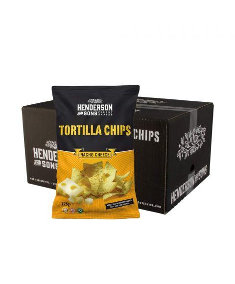 Henderson & Sons Tortilla Chips mit Käse Geschmack im Karton welcher 10 Packungen beinhaltet