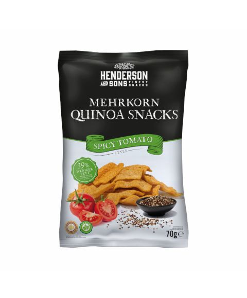 Henderson & Sons Spicy Tomato Quinoa Snack Chips in 70g Beutel