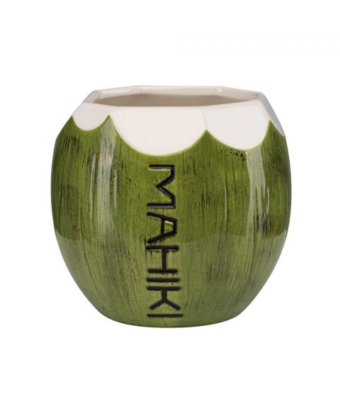 MAHIKI Kokosnussbecher Coconut Mug grün weiß mit Mahiki Logo in Kokosnuss Design.
