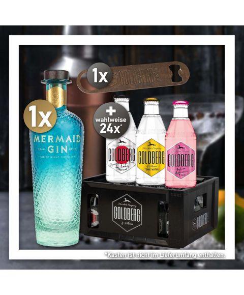 Gin Tonic Stay Home Bundle mit Mermaid Gin und 24 Flaschen 0,2l Goldberg Tonic Water nach Wahl