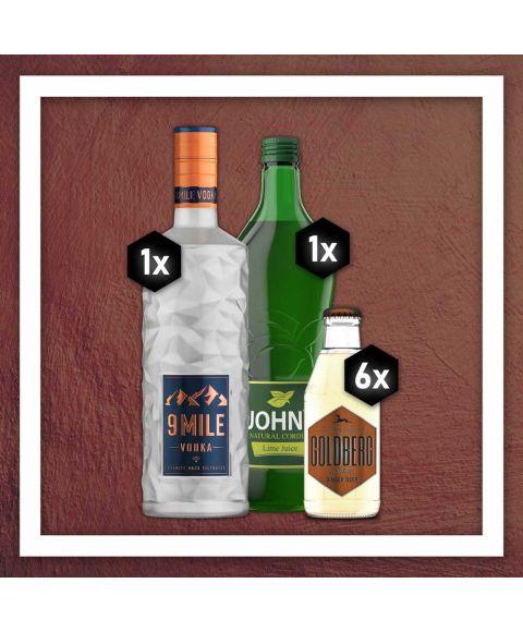 Moscow Mule Getränkepaket Set mit 1x 9 Mile Vodka, 6x Goldberg Gingerbeer und John´s Lime Juice