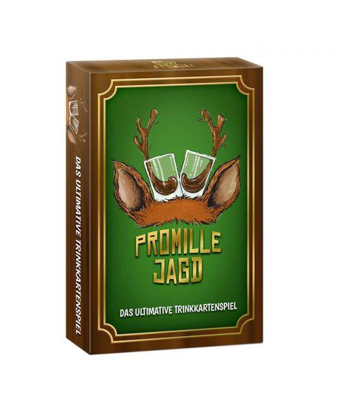 Promille-Jagd Trink-Karten-Spiel Sauf-Spiel Party-Spiel braune Verpackung mit goldenen und grünen Akzenten.