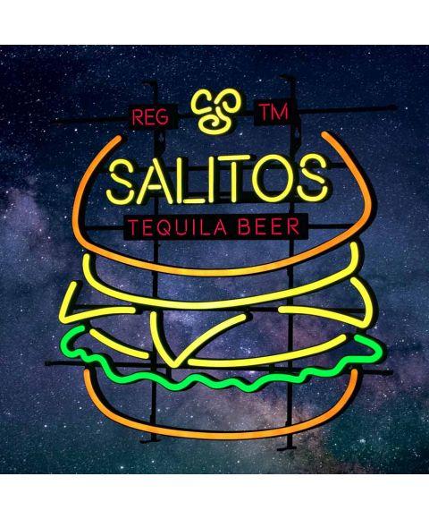 beleuchtetes SALITOS Neon Reklame Schild mit Burger Motiv