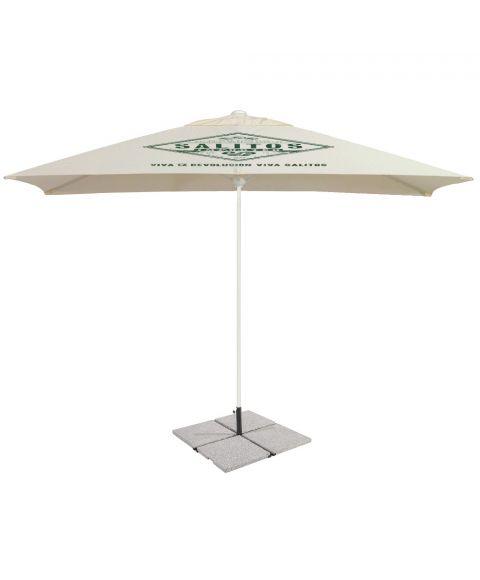 Salitos Sonnenschirm 3x3m beige mit Salitos logo und Bodenplatten