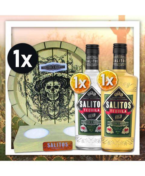 Salitos Tequila 2 Sorten (Silver & Gold) mit zusätzlichem beleuchtetem Tequila Show-Tool mit Totenkopf