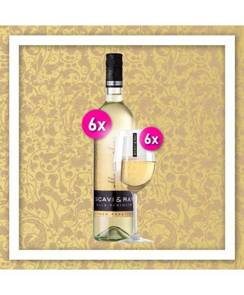 SCAVI & RAY Vanilla Dream Aktionspaket mit 6x 0,75l SCAVI & RAY Vanillewein und 6 dazu passenden SCAVI & RAY Weingläsern.