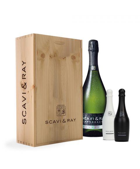 Scavi & Ray Prosecco zusammen mit Salz und Pfefferstreuer in schöner Holzbox