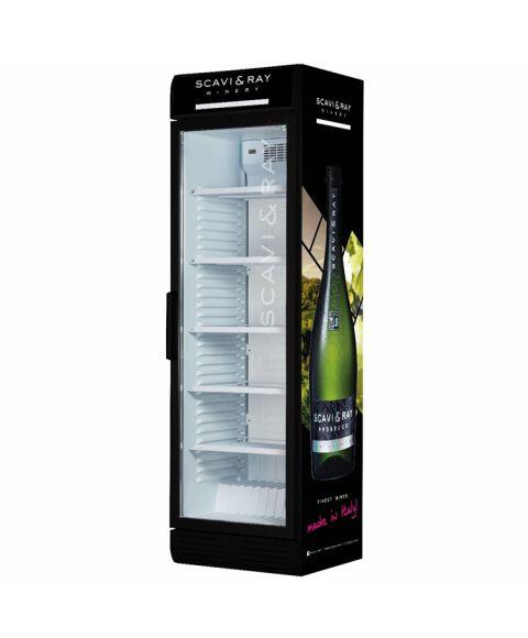SCAVI&RAY Kühlschrank groß mit Prosecco Flaschen Print an der Seite.