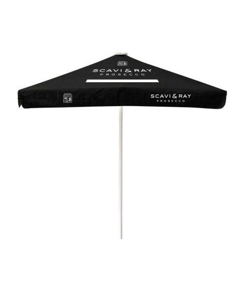SCAVI&RAY Sonnenschirm schwarz mit Logo und Schriftzug.