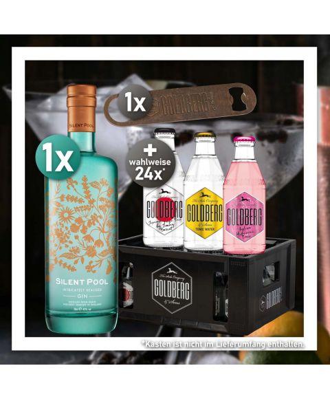 Gin Tonic Stay Home Bundle mit Silent Pool Gin und 24 Flaschen 0,2l Goldberg Tonic Water nach Wahl + Goldberg Rusty Flaschenöffner