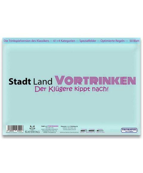 Trinkspiel Stadt Land Vortrinken Deckblatt