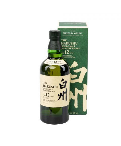 The Hakushu Single Malt Japanese Whisky 12 Jahre Alt 700ml in grüner Flasche und Geschenkverpackung. Ein Produkt der Suntory Distillery
