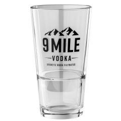 Vodka Shot Glas von 9 Mile mit Logo Schriftzug und Füllmenge von 3cl