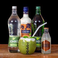 Cocktail Komplett Paket Mahiki Milky Mule zum selber mixen mit allen notwenigen Basis-Getränke-Zutaten. Beinhaltet: John´s Mojito Sirup, Mahiki White Coconut Likörm John´s Lime Juice und Goldberg Ginger Beer.