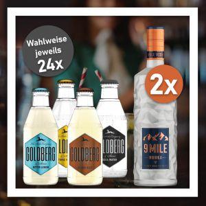 9 Mile Bundle mit zwei Flaschen Vodka und 24x Goldberg Filler
