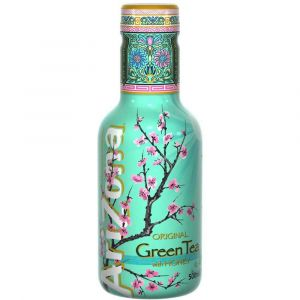 AriZona Green Tea Honey Eistee in einer 0,5l PET Flasche.