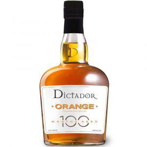 Dictador Colombian Orange Rum in einer 0,7l Glasflasche mit schwarzer Verschlusskappe.