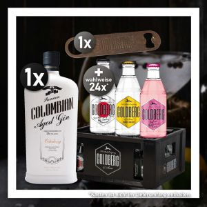 Gin Tonic Stay Home Bundle mit Dictador Colombian Aged Gin Ortodoxy 0,7L und 24 Flaschen 0,2l Goldberg Tonic Water nach Wahl