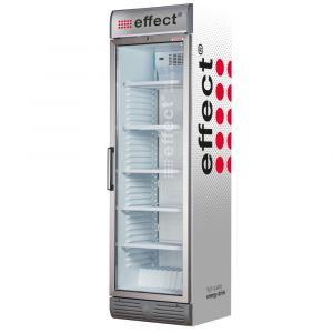 effect® energy Getränke Kühlschrank silber groß weiße LEDs mit effect Brandings, effect Seitenverkleidung
