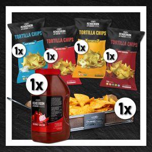 Henderson & Sons XXL Bundle mit 4 Sorten tortilla Chips, XXL Salsa Dip und Frittierkorb