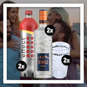Das Party Brother Aktions Bundle besteht aus 2x effect classic 1,0L, 2x 9 MILE Vodka 0,7L sowie zwei effect Acryl Cocktail Bechern.