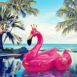 SALITOS Flamingo XXL Badeinsel mit Krone zum aufblasen für den strand und pool