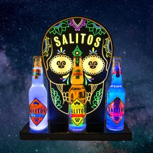 SALITOS Bottle Glorifier beleuchtet mit Salitos Tequila / Salitos Ice & Salitos Blue 0,33l Glasflaschen