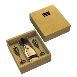 SCAVI & RAY Geschenkbox goldene Momente mit goldener Prosecco Flasche und 2 SCAVI & RAY Gläsern