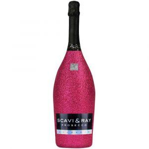SCAVI & RAY Prosecco Glitzerflasche Pink 1,5l Magnum Edition