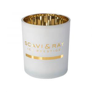 SCAVI & RAY Ice Prestige Kerzenglas in weiss mit goldenem Logo Print