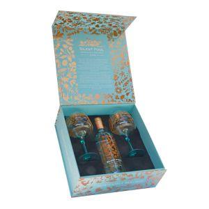 Silent Pool Gin mit zwei Copa Gläsern in edler, türkiser Geschenkverpackung
