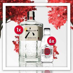 Japanischer Gin Tonic Longdrink. Mischung aus Yuzu Tonic und Roku Gin
