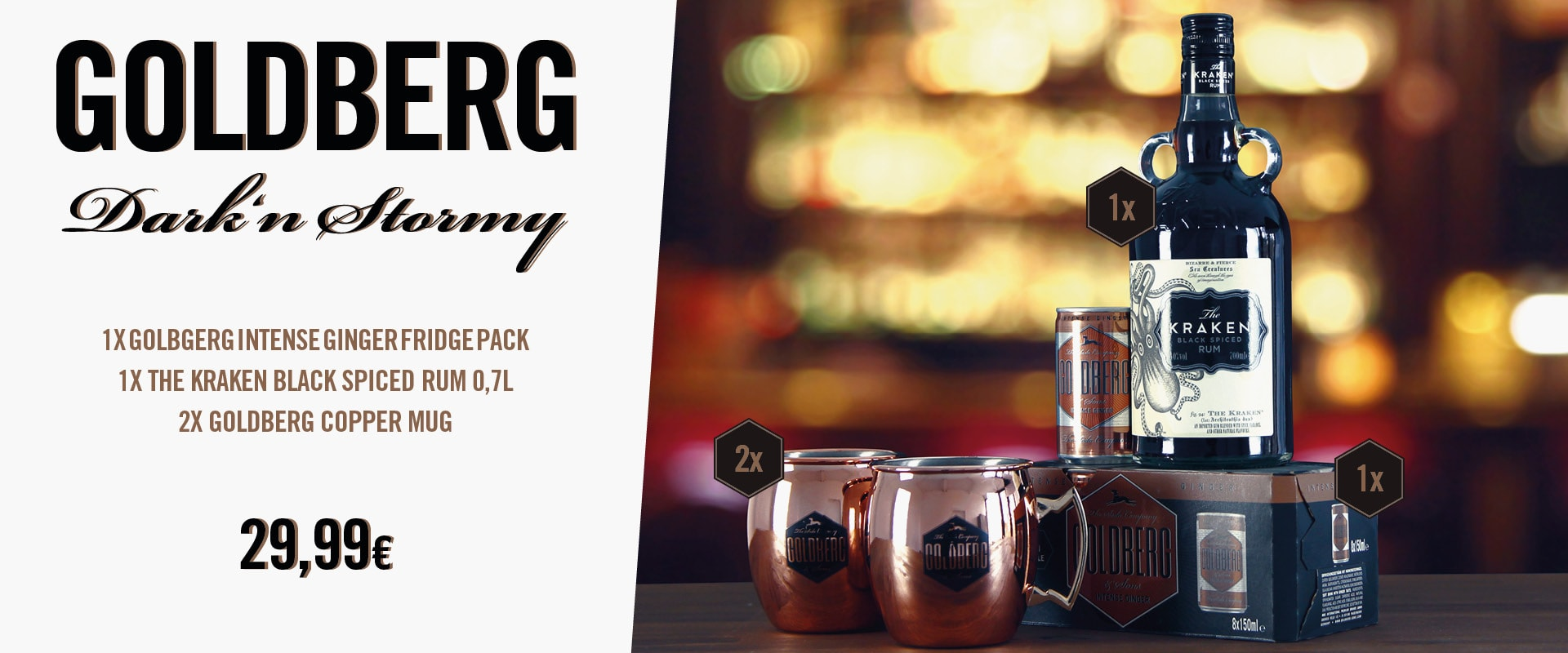 Goldberg Dark & Stormy Cocktailpaket und Copper Mugs
